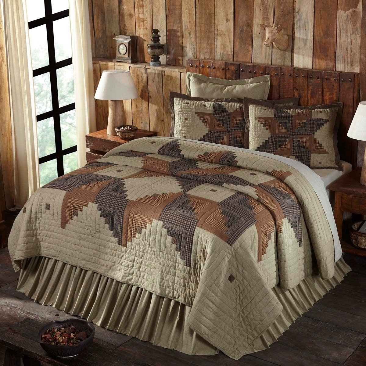 1 Piece Queen, Stylish Elegant Classic Patchwork Pattern Quilt, Traditional Cabin Look Checkered Plaid Design, Contemporary Lodge Themed, Damask Reversible Bedding, Adorable Black, Tan Color Unisex by AF ULTRA (Image #1)