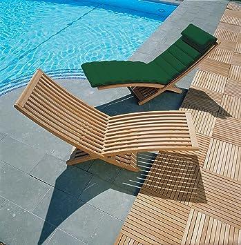 Lucia Modern Teak Sun Lounger with Cushion Green - Jati Brand