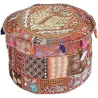 GANESHAM Indian Hippie Vintage Cotton Floor Pillow & Cushion Patchwork Bean Bag Chair Cover Boho Bohemian Hand…