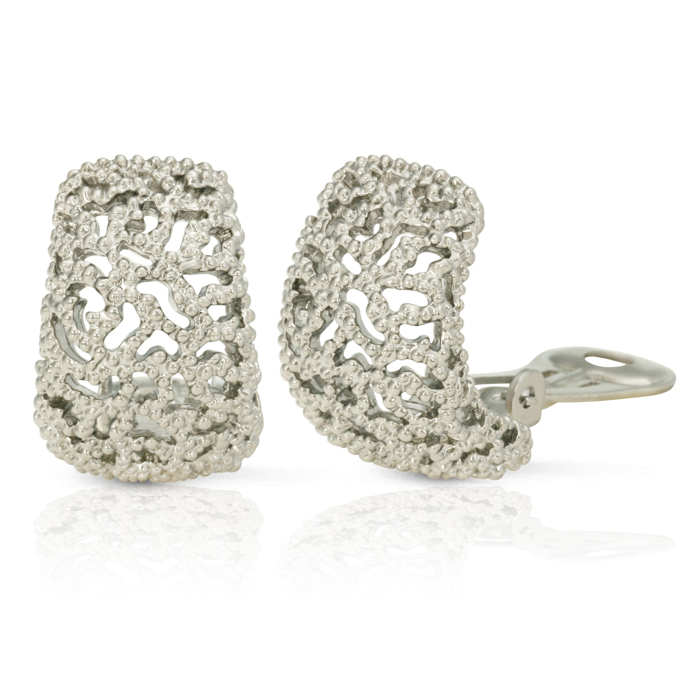 JanKuo Jewelry Rhodium Plated Vintage Style Semi Hoop Clip On Earrings by JanKuo Jewelry