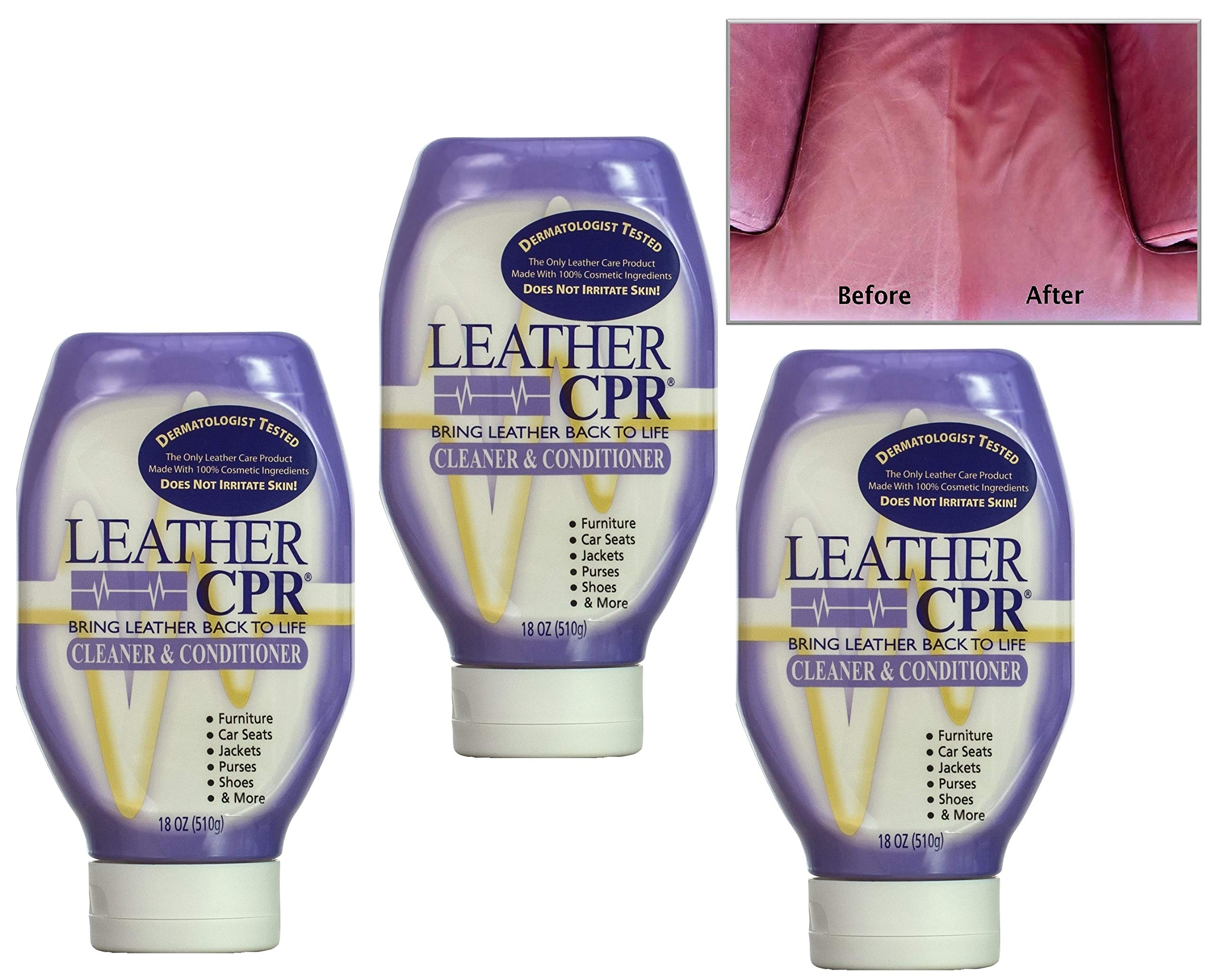 Leather CPR Cleaner & Conditioner by CPR Cleaning Products (Value 3-Pack of 18oz Bottles) Restores & Protects Leather Furniture, Purses, Car Seats, Jackets & More by CPR Cleaning Products