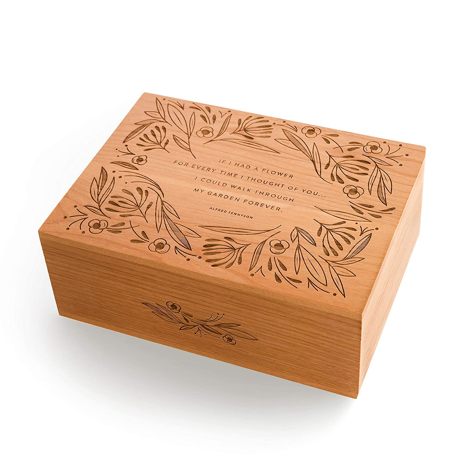 Garden of Flowers Alfred Lord Tennyson Quote Wood Keepsake Box [Personalized Custom Gifts, Anniversary, Wedding, Baby, Memory, Father's Day]