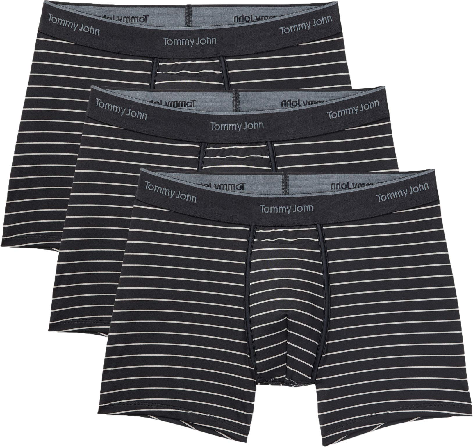 Tommy John Men's Go Anywhere Trunks - 3 Pack - Comfortable Breathable Striped Underwear for Men (Black Minimal, Large) by Tommy John