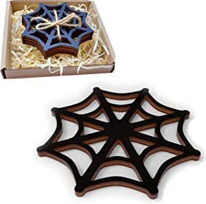Marolen Black Spider Web Wooden Coasters - This Spooky Home Decor Includes 4 Spider Web Coasters - Great Gift for Gothic Home Decor Lovers and as Halloween Home Decor
