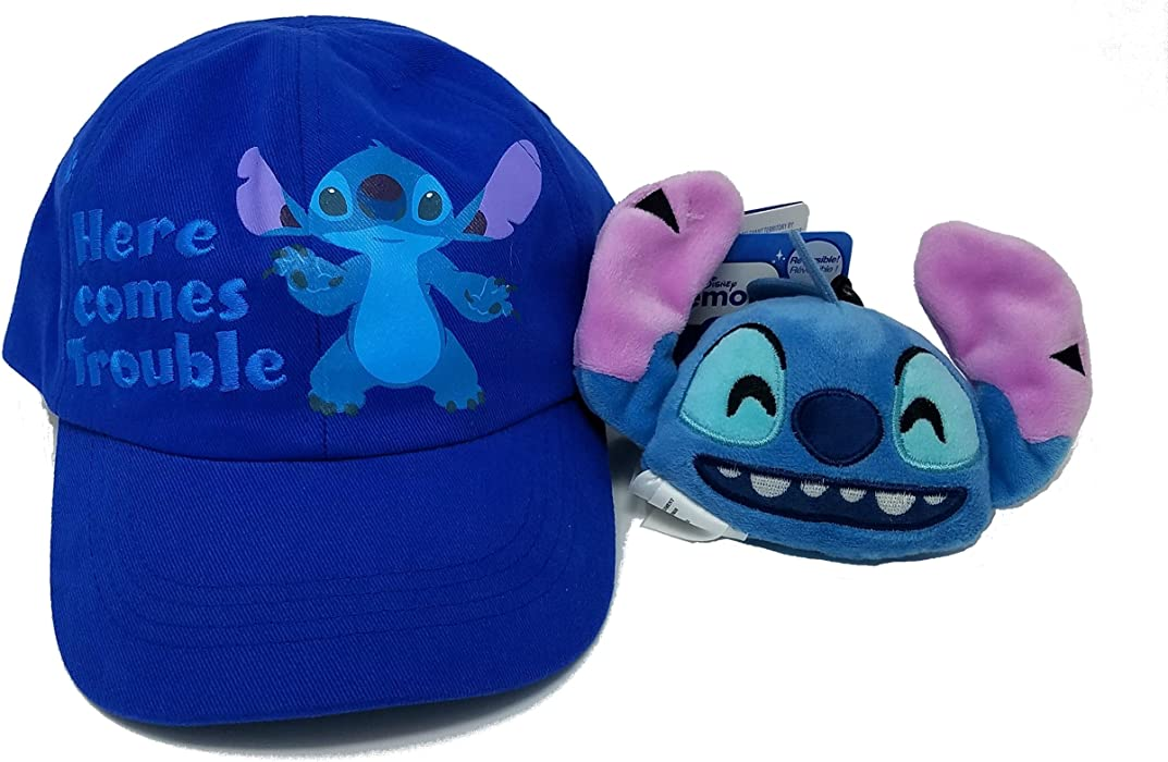 "Stitch ""Here Comes Trouble"" Toddler Hat with Bonus Stitch Emoji Plush Keychain"