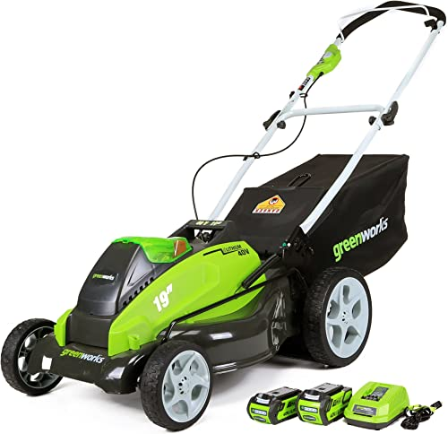Greenworks 19-Inch 40V Cordless Lawn Mower, 4.0 AH 2.0 AH Batteries Included 25223