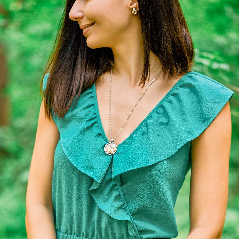 Lebensbaum Schmuck-Set mit Halskette und Ohrringen Mit jedem Kauf pflanzt du einen Baum! Klimisy Hochwertige Kette aus Edelstahl mit Ohrsteckern aus Glas nach Gustav Klimt