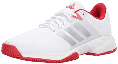 adidas Men's Barricade Court 3 Tennis Shoe, White/Matte Silver/Scarlet, 10