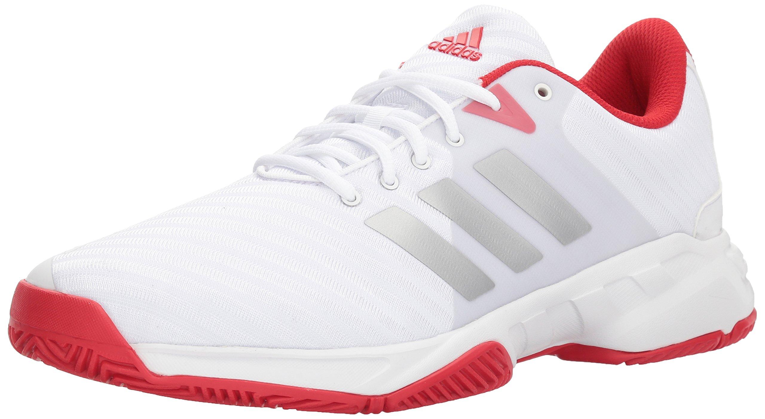 adidas Performance Men's Barricade Court 3 Tennis Shoe, White/Matte Silver/Scarlet, 9.5 M US