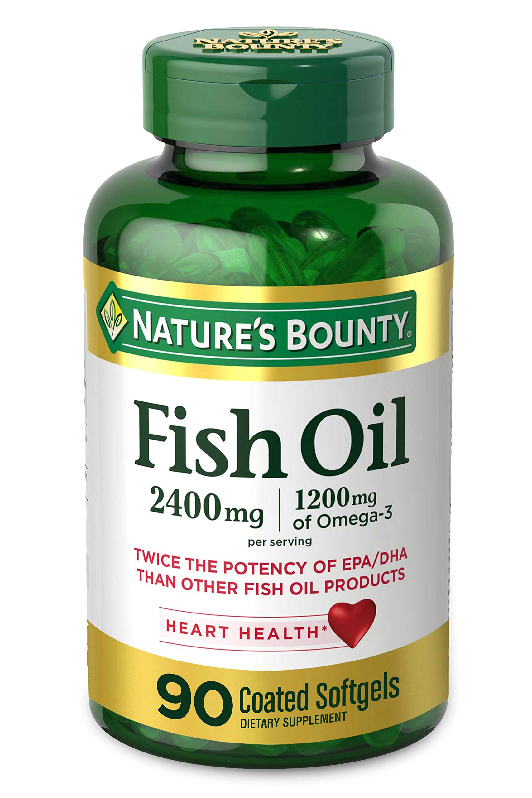 Nature's Bounty Fish Oil, 2400mg, 1200mg of Omega-3, 90 Coated Softgels