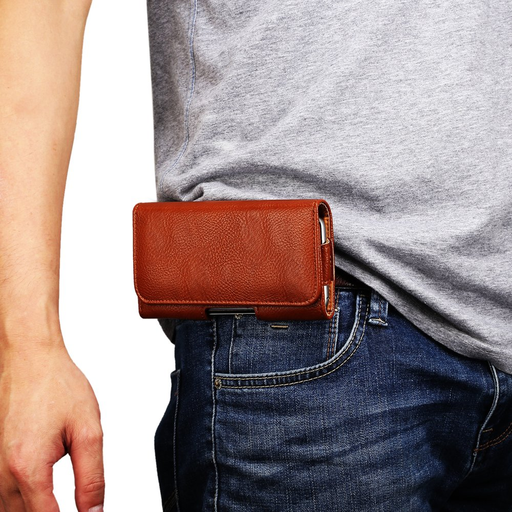 DAYNEW 4.7 de Hombre Funda de Piel Cintur/ón Bolso de Cintura de Cuero Premium Funda Piel Mini Bolsa de Mensajero Hombro Bolsa de Tel/éfono M/óvil Cartera Bolsa Funda Protectora-Marr/ón