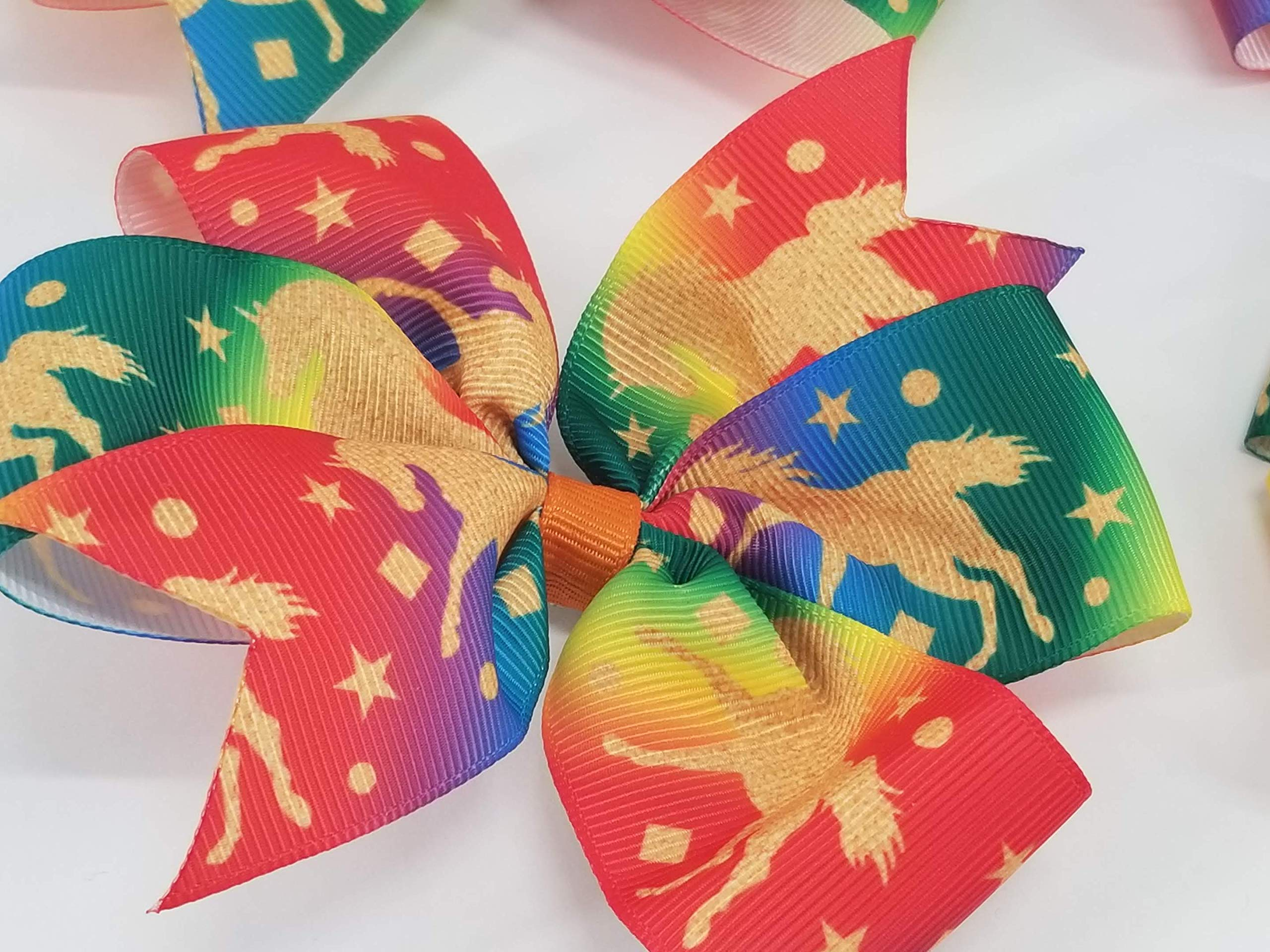 Rainbow Unicorns Hair Bow 7