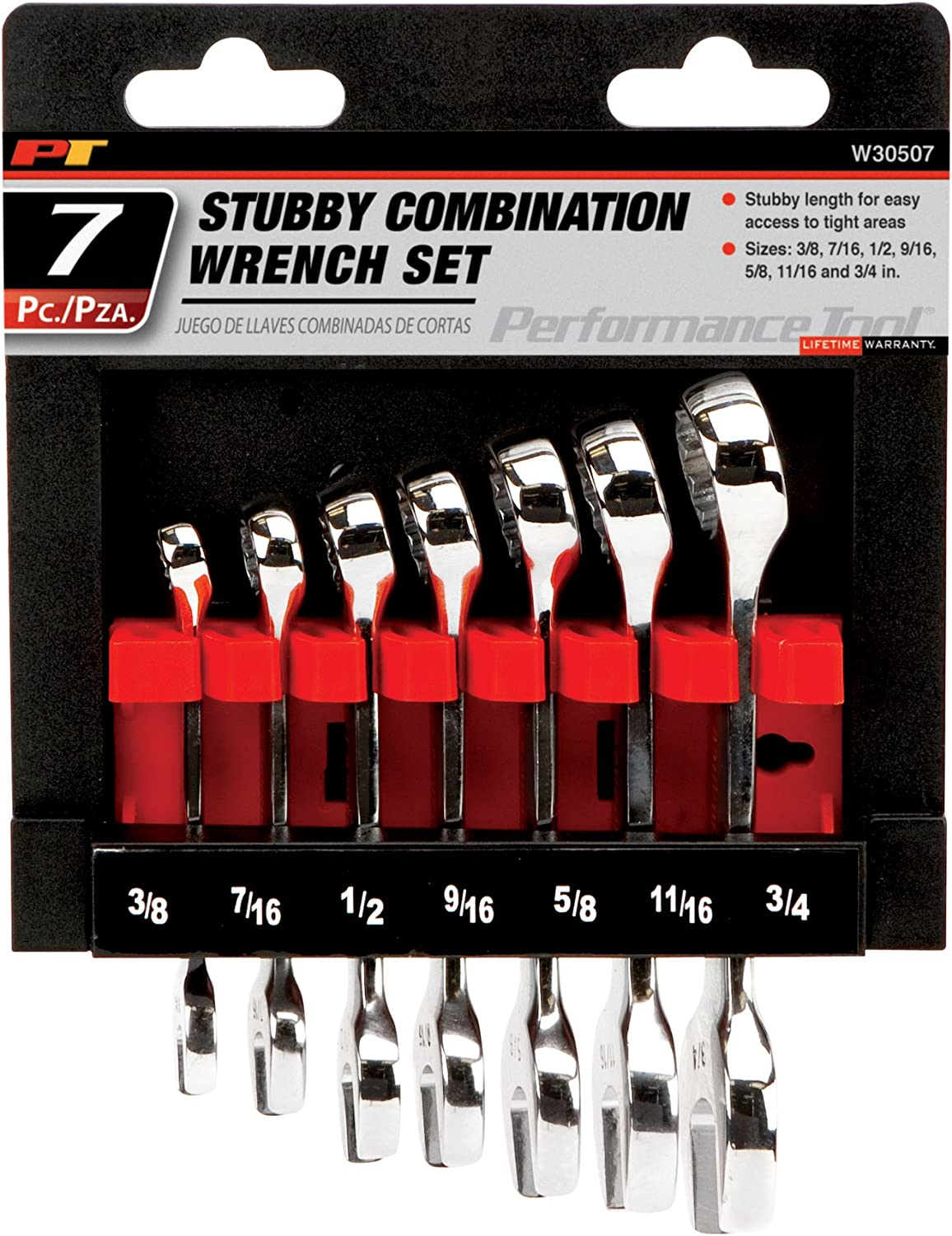 3//4 and 13//16 9//16 Sizes: 1//4 7//16 3//8 5//8 11//16 1//2 5//16 Performance Tool W30202 10pc SAE Standard Wrench Set