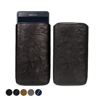 MediaDevil Samsung Galaxy Note 4 Funda de Cuero Auténtico (Negro con costura Negra) - Funda Artesanal de Cuero Europeo - Artisanpouch