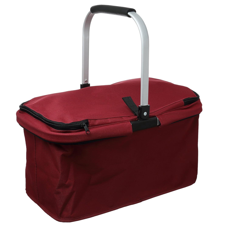 Levivo Cesta de la compra / Carrybag con marco de aluminio plegable para un plegado compacto, con cremallera para cerrar, ideal para comprar, ir de pícnic y ...