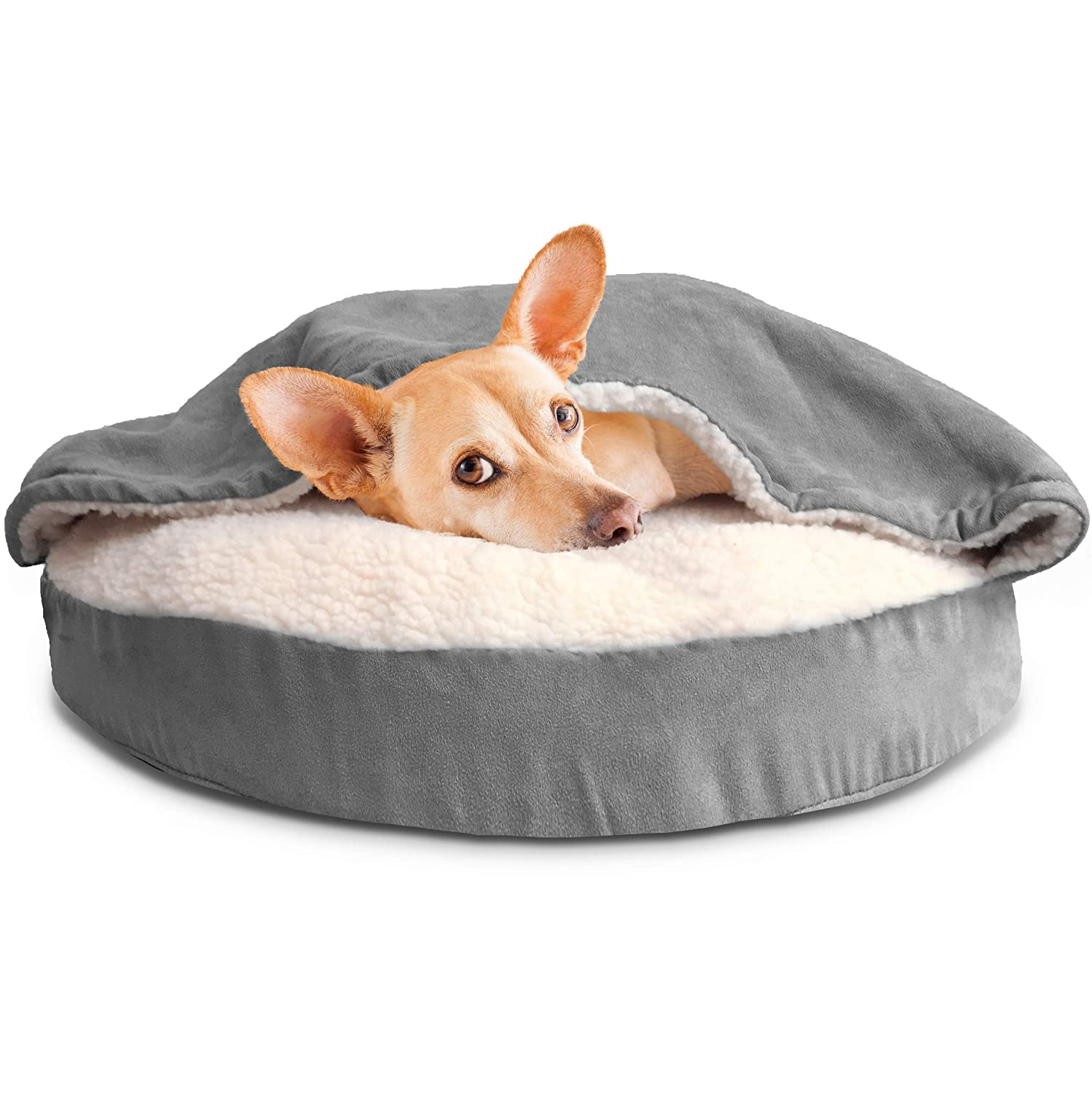Furhaven Pet Dog Bed | Orthopedic Round Cuddle Nest Snuggery Burrow Blanket Pet Bed w/Removable Cover for Dogs & Cats - Available in Multiple Colors & Styles