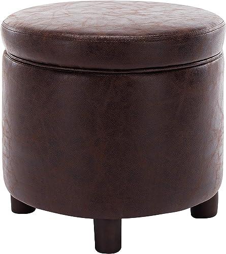 WOVENBYRD 19-Inch Faux Leather Storage Ottoman