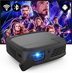 Mini Bluetooth Projector with 5G/2.4GWifi,Android 7.1 Projector Support Wireless Airplay 4D Keystone Correction for Outdoor Movie Home Theater Gaming DVD Player Smart Phone Laptop HDMI PS4 PC USB