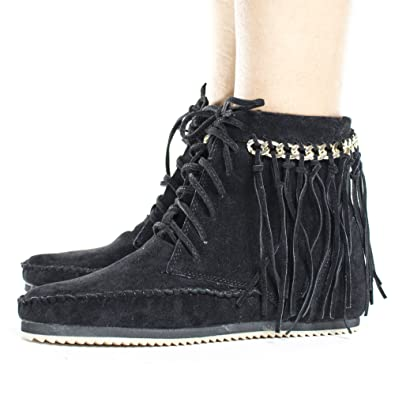 Fringe & Gold Chain Lace Up Women's Moccasin Boots