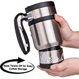 Double Shot 3.0 French Press Travel Coffee Mug, 16 oz - Brü-Stop Technology with Storage Base and Spill Proof Lid - Stainless Steel - Brushed Steel