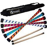 Flames N Games TWIST Devil Stick Set (2-Colour Deco) WOODEN Sticks + Travel Bag! Juggling Devil sticks 4 Beginners & Pro's! (Black/Red)