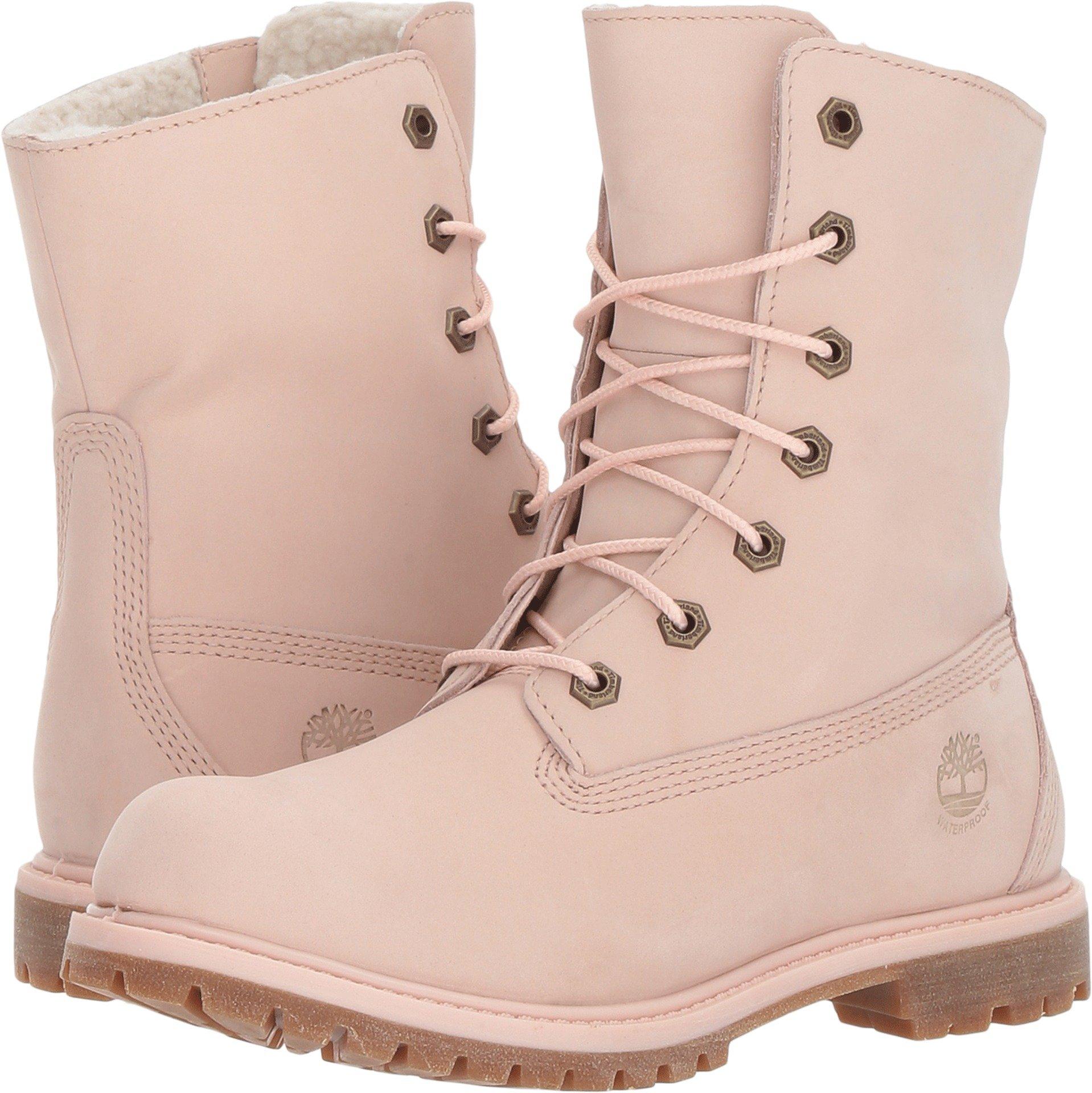 Timberland Authentics Teddy Fleece Waterproof Fold-Down Boot Light Pink Nubuck (Womens) (8.5 B(M) US)