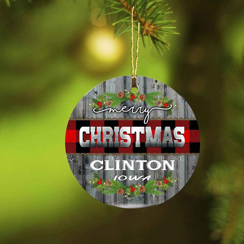 Christmas Ornaments 2019 Merry Christmas Clinton Iowa Xmas Presents Ideas State IA Ornament Rustic Funny Gift New Home Housewarming Keepsake Gift Ceramic 3 inches White