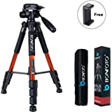 """BONFOTO Q111 Aluminium Camera Tripod 55"""" Lightweight with Phone Holder Mount for YouTube Phone Live Broadcast Projector Gopro Tablet and Canon Nikon Sony SLR Camera Video with Carry Case (Orange)"""