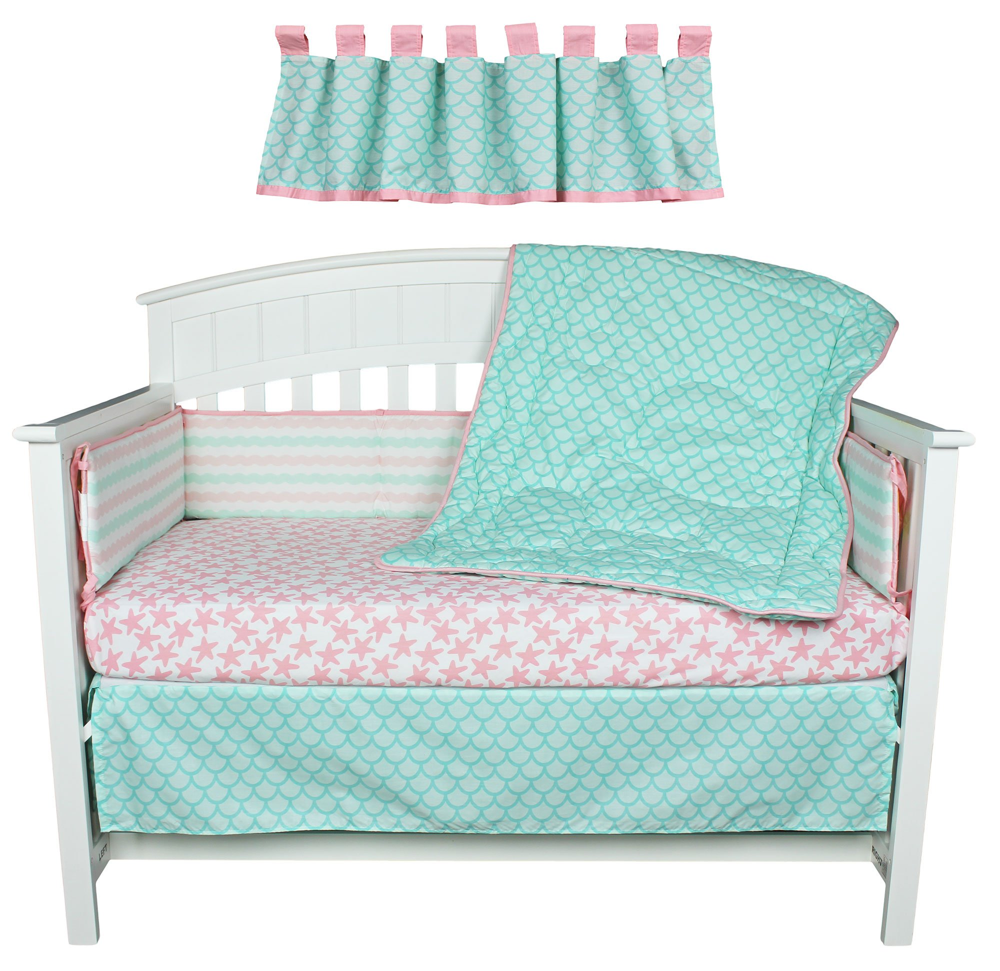 Sea Sweeties Pink and Blue Ocean 5 Piece Baby Girl Crib Bedding with Bumper by Belle by Belle (Image #3)