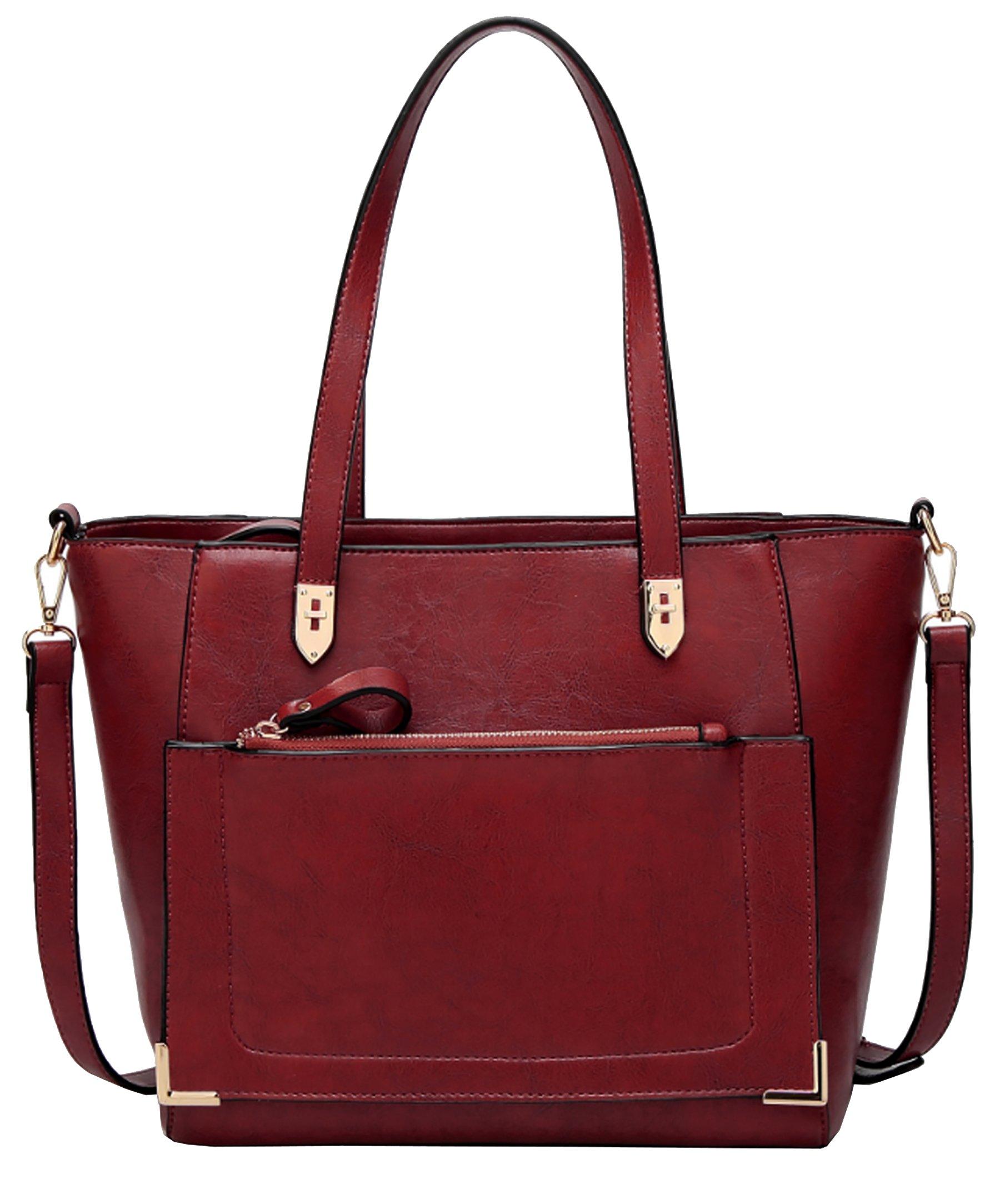 Women's Vintage Fine Fibre Genuine Leather Bag Tote Shoulder Bag Handbag Model Cronos Red Wine