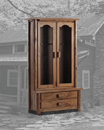 Etonnant Rustic Log Gun Cabinet Pine Solid Wood Cabin Lodge Rustic Series (12 Gun,  Unfinished