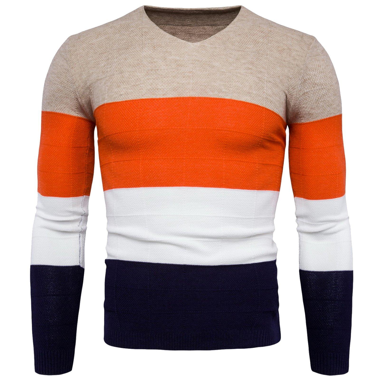 WSLCN Mens Chic Fine Knit V-Neck Coton Jumper Pullover Contrast Color Sweater Beige US XS (Asian M)
