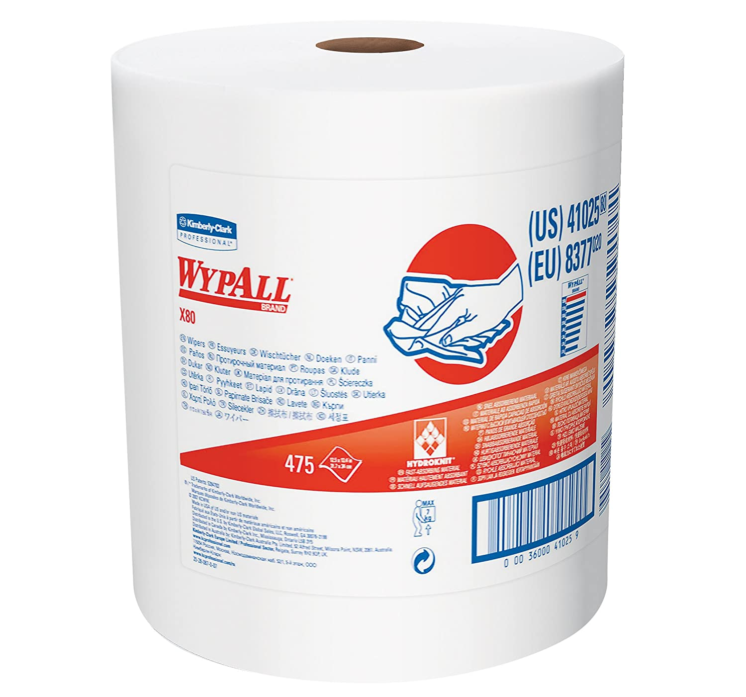 Wypall X80 Reusable Wipes 41025 Extended Use Cloths Jumbo Roll White 475 Sheets Roll; 1 Roll Case