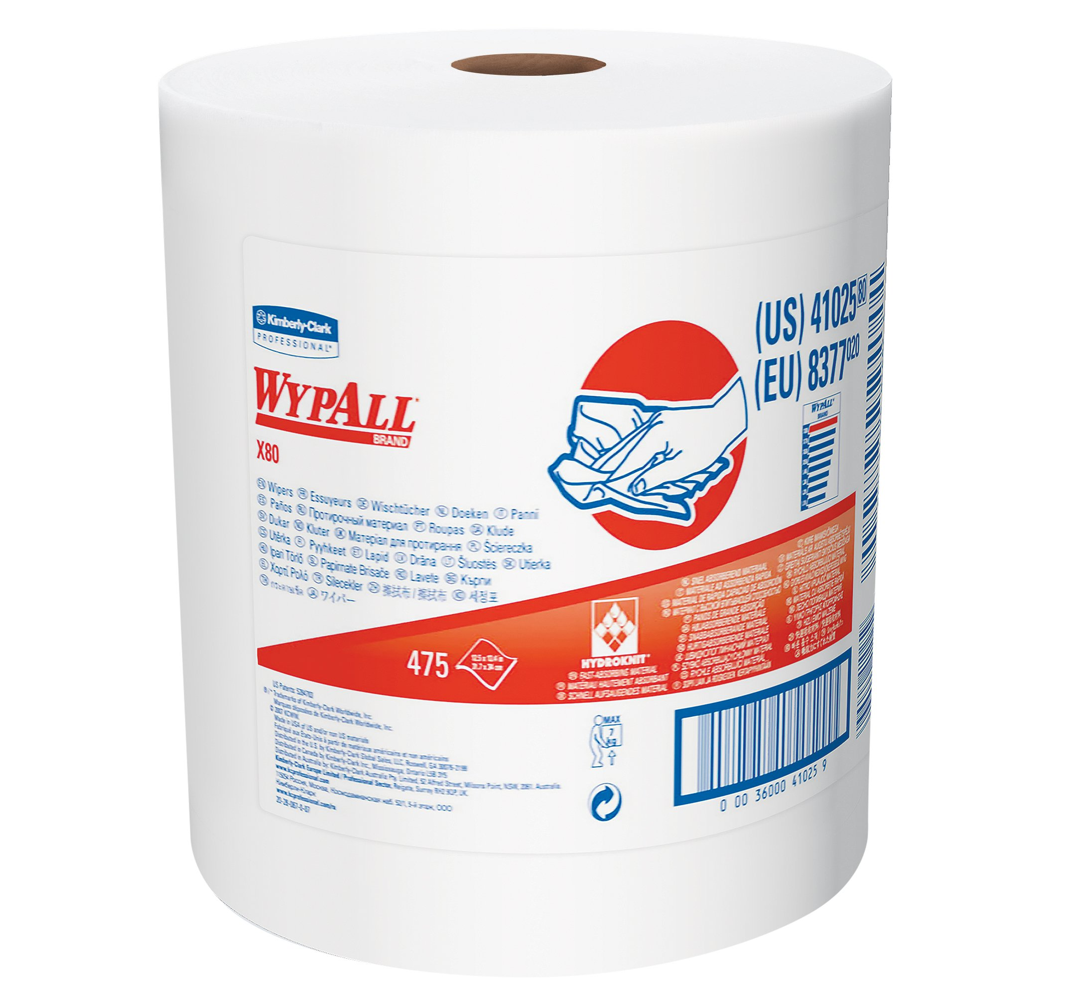 Wypall X80 Reusable Wipes (41025), Extended Use Cloths Jumbo Roll, White, 475 Sheets / Roll; 1 Roll / Case by Wypall