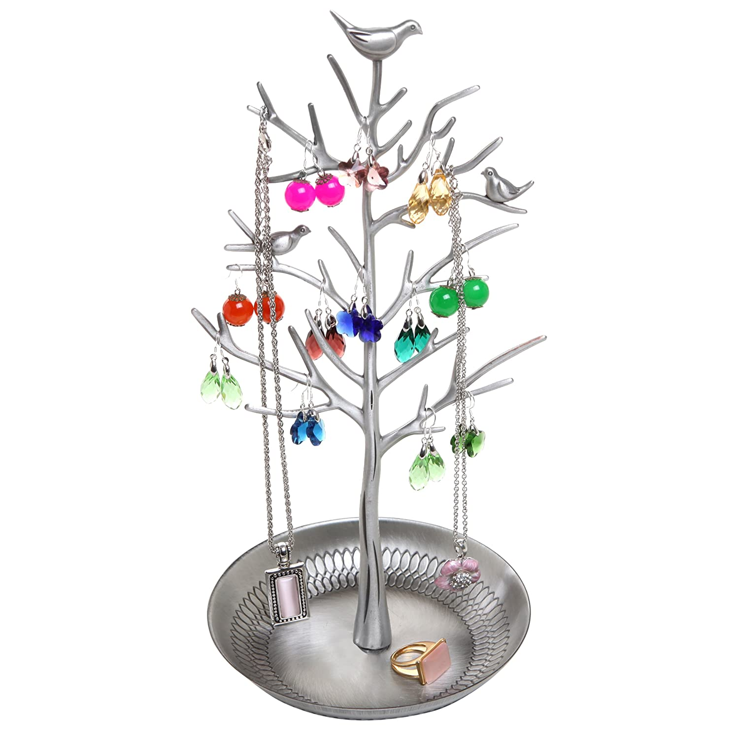 Pewter Metal Decorative Jewelry Tree / Necklace Hanger / Earring Organizer by MyGift® TB-J0099PEW