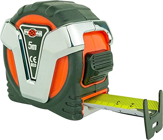 TUCANO Tools Metric Tape Measure 5 Metres with Nylon Coating - Double Sided Graduation - Anti-Shock and Non-Slip - Lock Button - Belt Clip and Strap: Amazon.co.uk: DIY & Tools