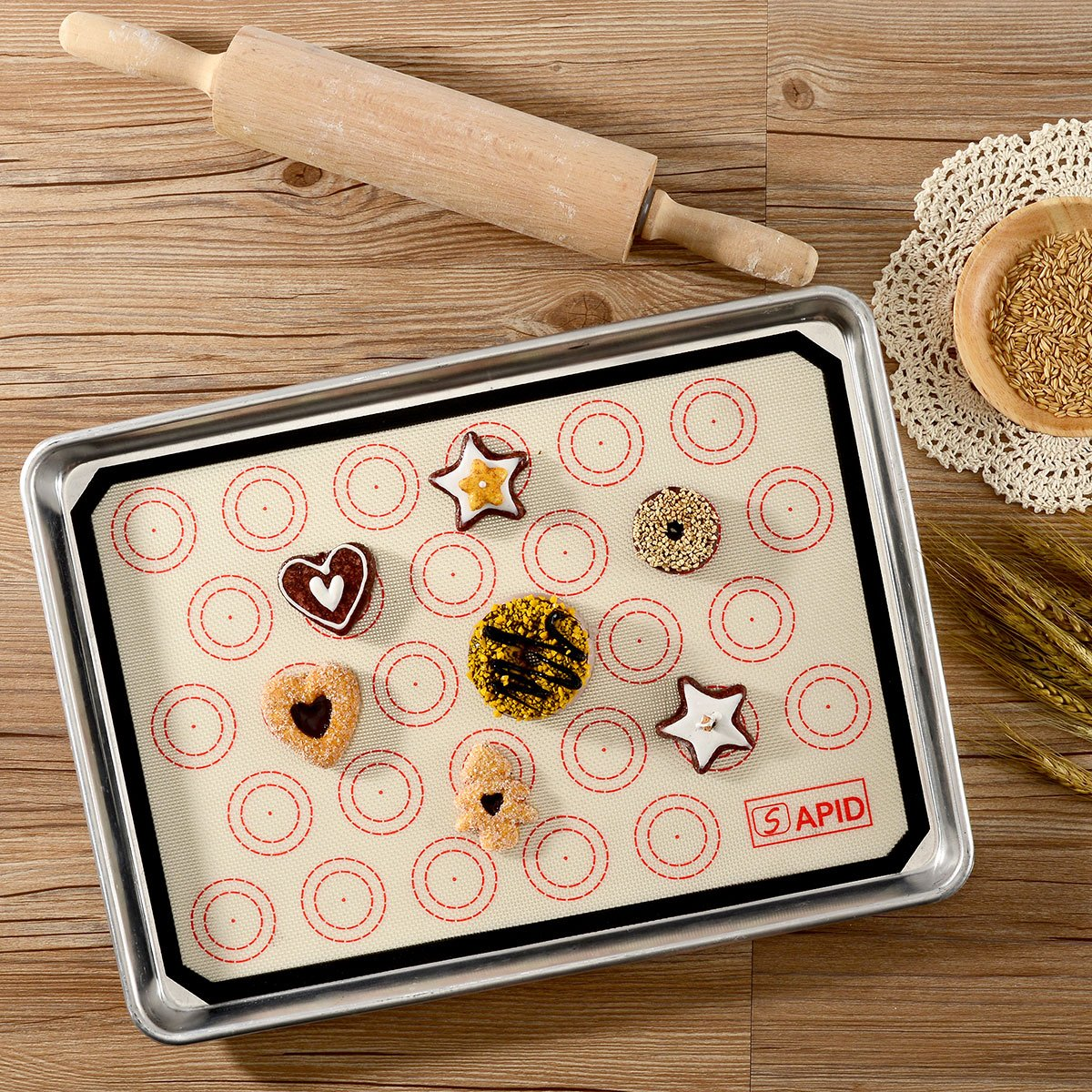 Silicone Baking Mat Macaron Non-stick Silicon Cookie Half Sheet 3 Pack for Macaroon,Cake,Bread and Pizza Making By Sapid,16.5 x 11 5//8 Black