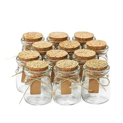 Amazoncom Glass Favor Jars With Cork Lids Mason Jar Wedding