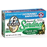 Season Skinless & Boneless Sardines in Olive Oil, No Salt Added, 4.375-Ounce Tins (Pack of 6)