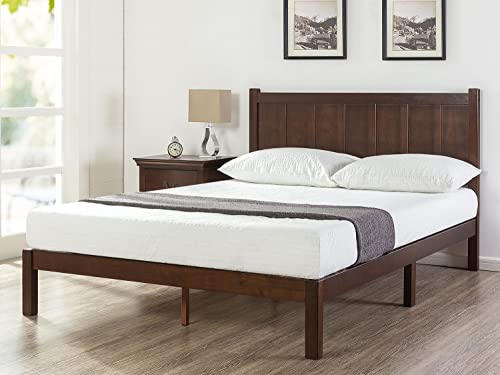 Zinus Adrian Wood Rustic Style Platform Bed with Headboard No Box Spring Needed Wood Slat Support, King
