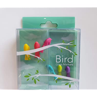 Wine Glass Markers with Colorful and Stylish Design - Set of 6 (Bird)