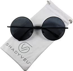 7c88098d3f ShadyVEU - Oversized Round Metal Frame Circle Hippie Large Groovy Metal  Wire Sunglasses