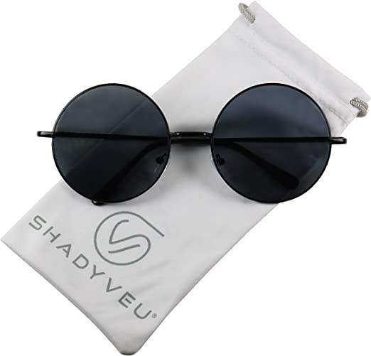 ShadyVEU Retro Oversized Round Hippie Sunglasses wExtra Large Circle Lens Metal Frame Groovy 70's Classic Shades