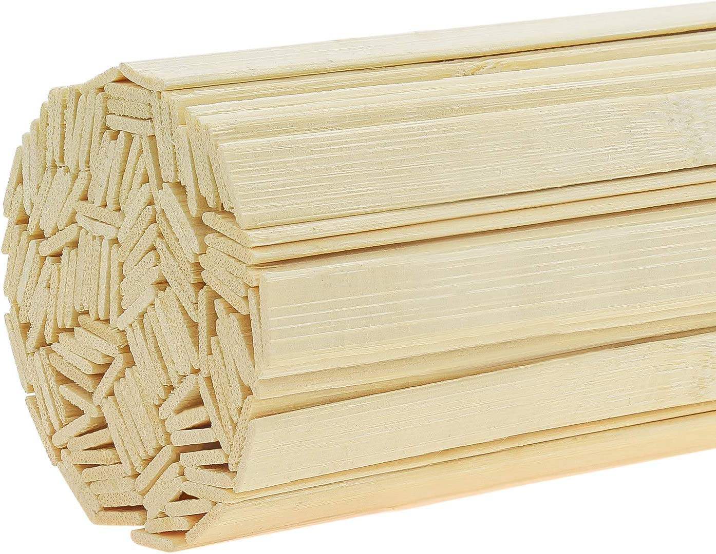Powlankou 128 Pieces 15.75 Inches Natural Bamboo Sticks, Bamboo Strips, Strong Natural Bamboo Sticks for Craft Projects