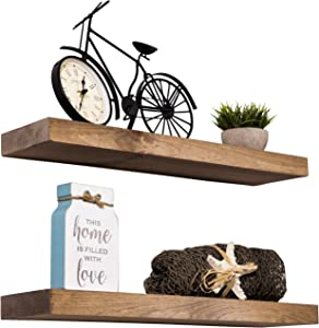 Imperative Décor Floating Shelves Rustic Wood Wall Shelf USA Handmade | Set of 2 (Light Walnut, 15
