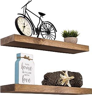 Floating Shelves Rustic Wood Wall Shelf USA Handmade | Set of 2 (Special Walnut, 24
