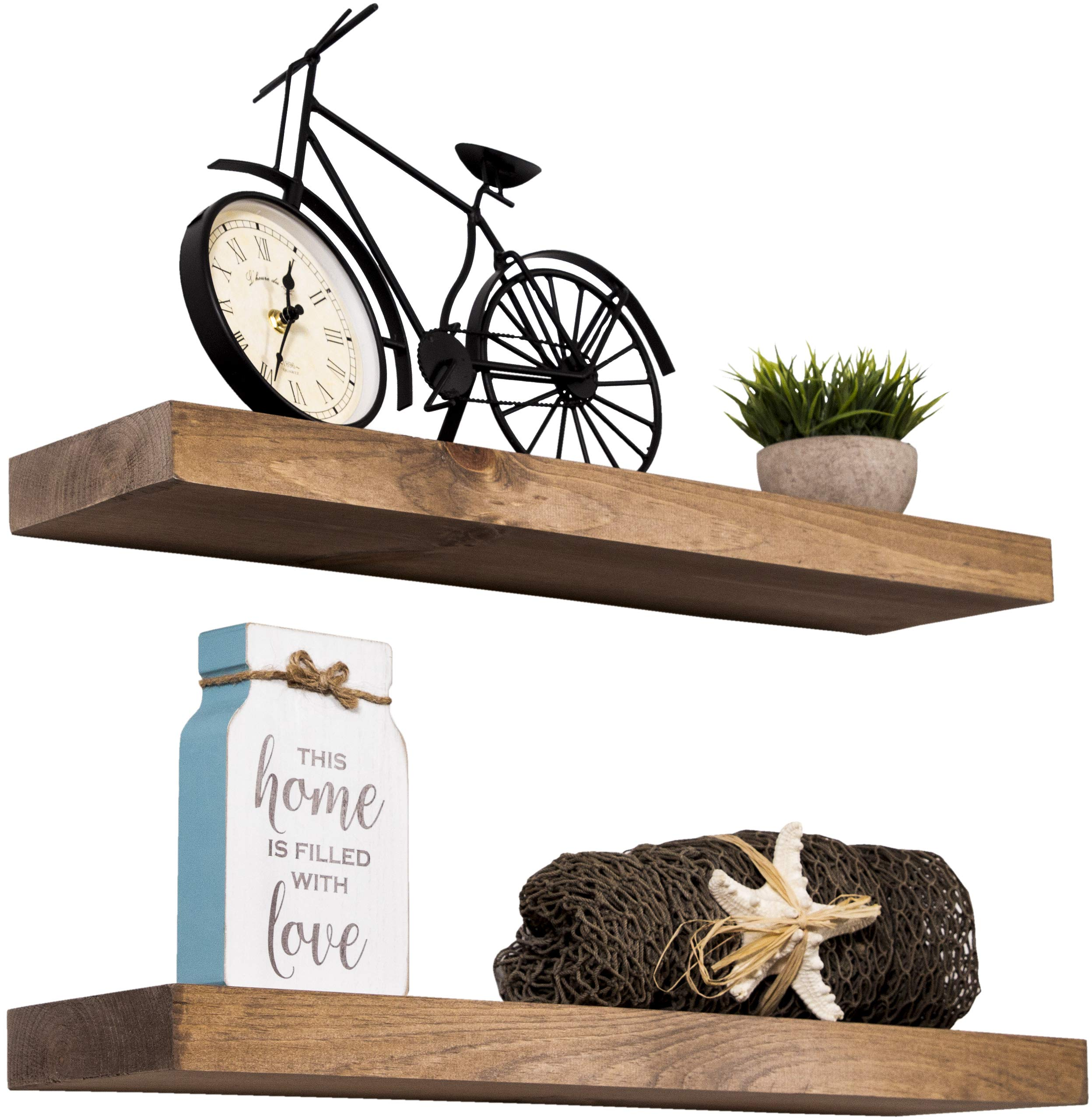 Imperative Décor Floating Shelves Rustic Wood Wall Shelf USA Handmade | Set of 2 (Special Walnut, 24'' x 5.5'') by Imperative Décor