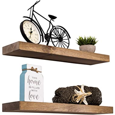 Imperative Décor Floating Shelves Rustic Wood Wall Shelf USA Handmade | Set of 2 (Special Walnut, 24  x 5.5 )