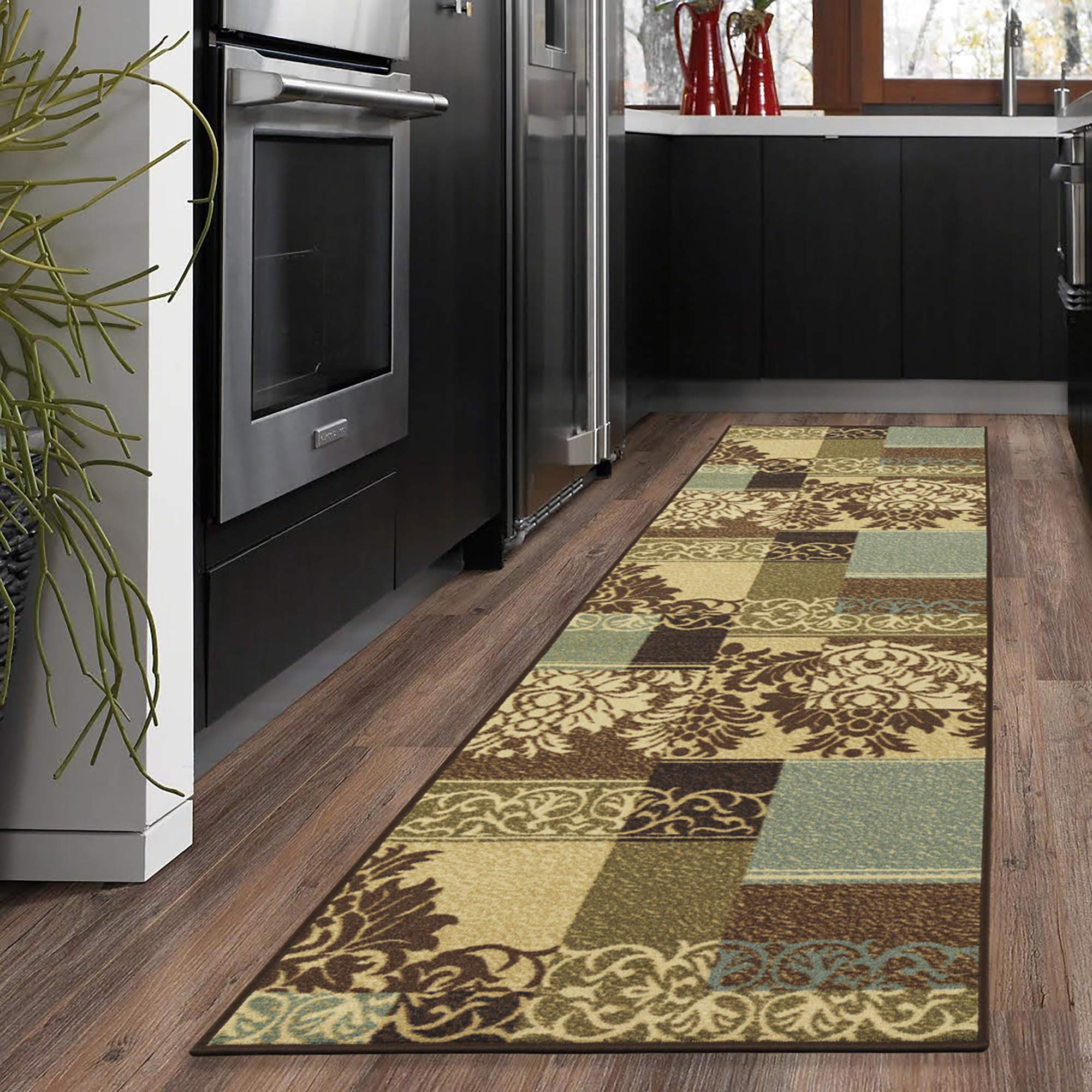 110W x 70L Ottomanson Ottohome Collection Brown Color Contemporary Bordered Design Runner Rug with Non-Skid Rubber Backing