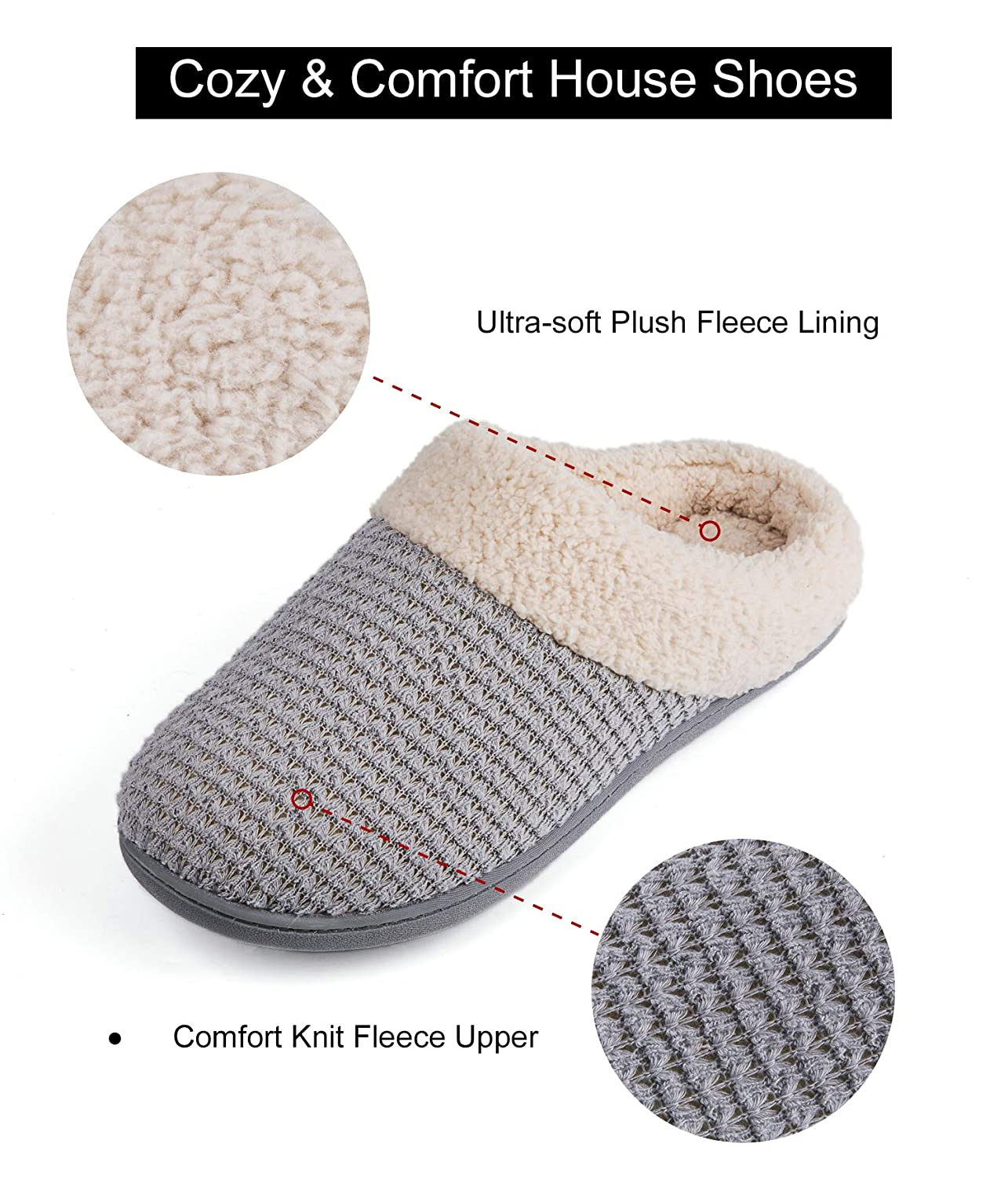3d1db9f220 Amazon.com | Women's Comfort Coral Fleece Memory Foam Slippers Fuzzy Plush  Lining Slip-on Clog House Shoes for Indoor & Outdoor Use | Slippers